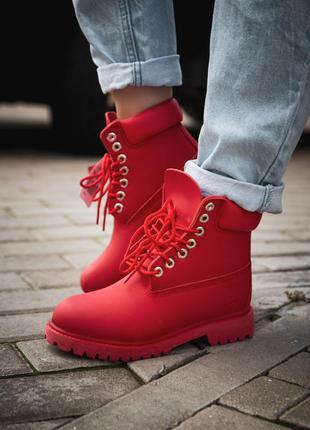 Шикарные женские кожаные ботинки timberland red (termo) красного