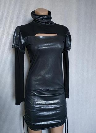 Черное вечернее платье с люрексом