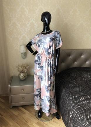 Платье из вискозы в пол, макси в цветы, пудра, размер 48-50