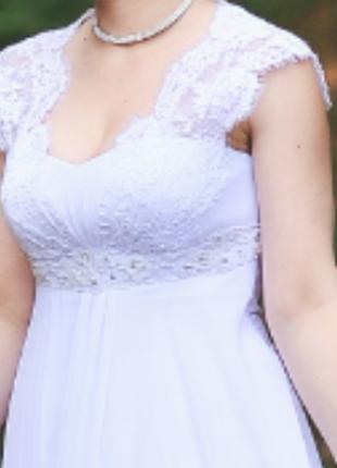 Белое свадебное платье L 46-48 в греческом стиле
