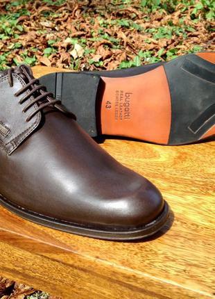 Мужские кожанные бизнес туфли BUGATTI 43 р T1801-1100-NOS оригина