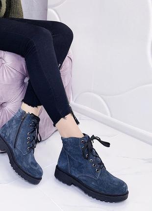 Новые шикарные женские синие осенние ботинки