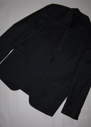 Идеальный темно-синий однобортный мужской пиджак шерсть