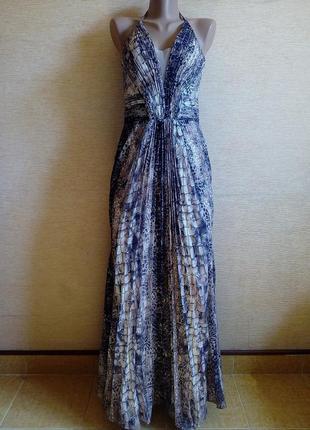 Трендовое длинное платье плиссе в принт питона + туфли