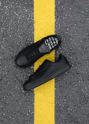 Стильные кроссовки унисекс adidas stan smith black lather