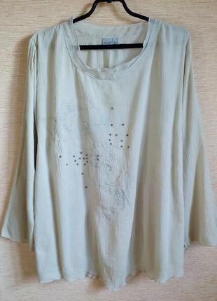 Блузка из хлопка свободного кроя 60/64 размер