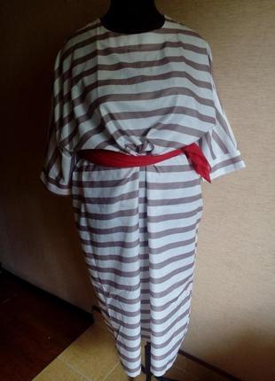Летнее длинное платье мешок в полоску