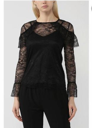 Прозрачная блуза в сетку с оборками в цветочный принт вышивку