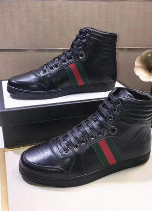 Мужские кроссовки gucci high top web black