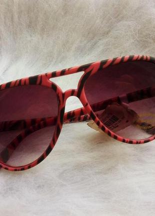 Розовые цветные имиджевые очки с черным солнцезащитные стекла ...