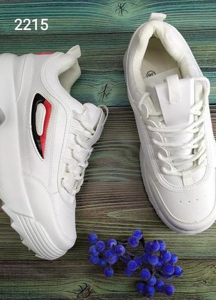 Женские кроссовки белые на высокой подошве платформе
