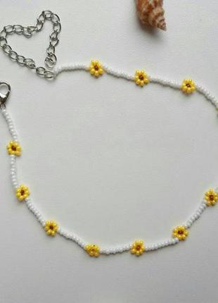 Чокер из бисера ромашки цветочки, квіти, желтый, жовтий, подсо...