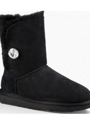 Черные сапоги 👢 ugg с пуговицей