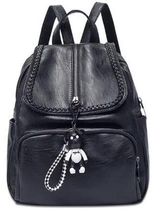 Рюкзак женский черный с косичкой