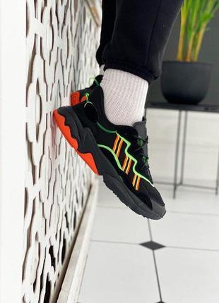 Кроссовки adidas ozweego black orange green