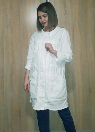 Белый джинсовый удлиненный тренч жакет пиджак парка с поясом s...