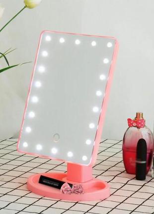 Зеркало для макияжа nbz large led mirror настольное с подсветк...