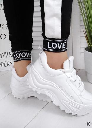 Хит 2019 натуральная кожа люксовые белые кроссовки на массивно...