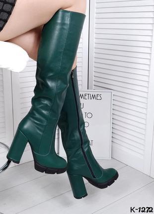 Осень/зима натуральная кожа роскошные сапоги на высоком каблук...