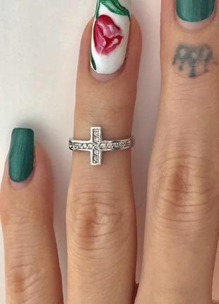 Кольцо серебро 925 пробы на фалангу крестик 1587