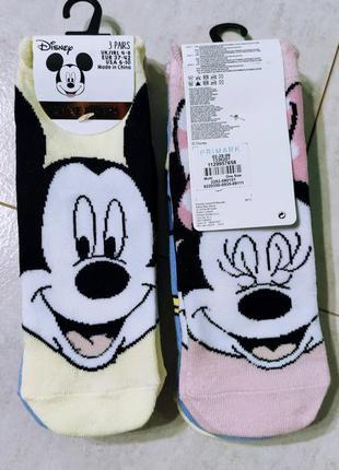 Комплект коротких носочков дисней, 3 пары упаковка