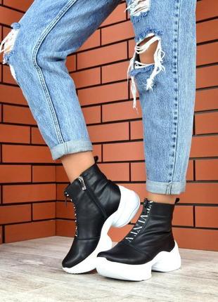 Осень натуральная кожа эксклюзивные ботинки на массивной подош...