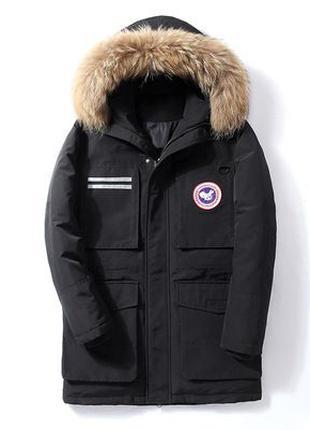 Мужская зимняя удлинённая куртка пуховик Аляска, чёрная. Разм....