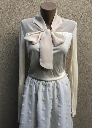 Блуза,кофточка с бантом,гольф,ретро,винтаж стиль,офисная,