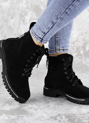 Женские черные ботинки эко-замша
