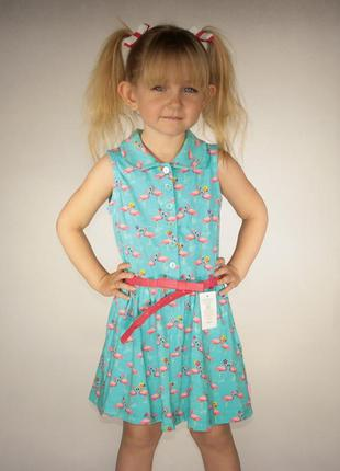Голубое платье для девочки lc waikiki / лс вайкики с фламинго