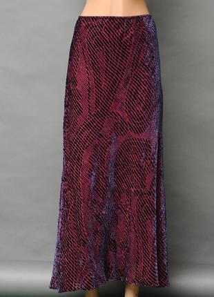 Laura ashley. юбка макси вискоза бордовый с фиолетовым велюр с...