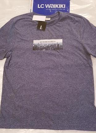 Светло-серая мужская футболка lc waikiki / лс вайкики футболка...
