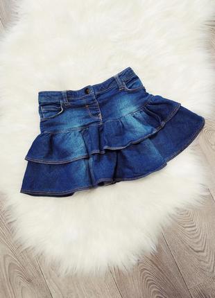 Джинсовая пышная юбка юбочка на девочку клеш в садик