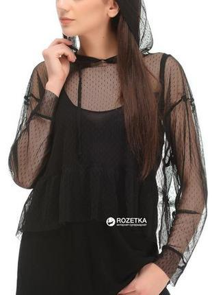 Блуза фатин с капюшоном длинный рукав майка-туника размер 8-10...