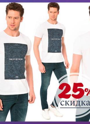 Белая мужская футболка lc waikiki / лс вайкики с рисунком и на...