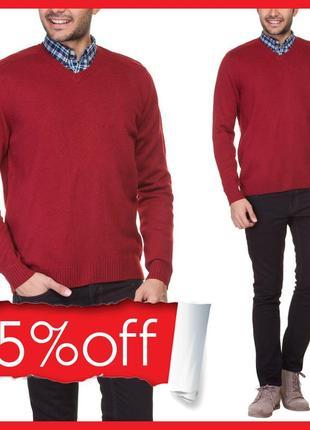 Мужской свитер красный lc waikiki / лс вайкики с v- образным в...