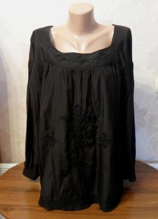 Черная блузка шелк с хлопком soft grey