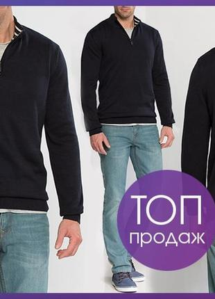Мужской свитер черный lc waikiki с молнией на груди, воротнико...