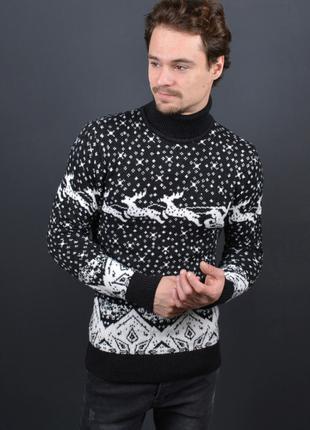 Мужской свитер с оленями черный