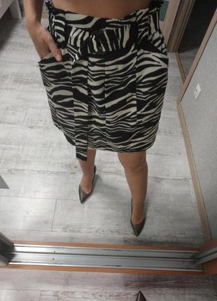 Актуальная юбка с защипами высокая талия