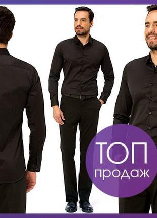 Мужская рубашка черная lc waikiki / лс вайкики на черных пугов...