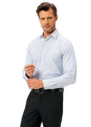 Мужская рубашка белая lc waikiki / лс вайкики в голубую полоску