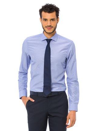 Голубая мужская рубашка lc waikiki / лс вайкики в голубую и бе...