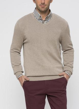 Мужской свитер бежевый lc waikiki / лс вайкики с v- образным в...