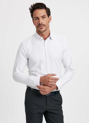 Белая мужская рубашка lc waikiki / лс вайкики в синюю полоску