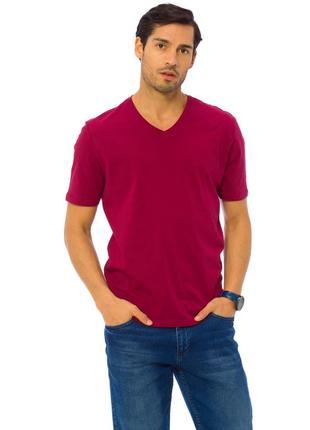 Мужская футболка бордовая lc waikiki / лс вайкики с v-образным...