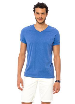 Мужская футболка голубая lc waikiki / лс вайкики с v-образным ...