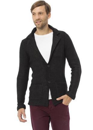 Черный мужской пиджак lc waikiki / лс вайкики с латками и карм...