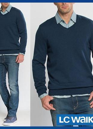 Cиний мужской свитер lc waikiki / лс вайкики с v-образным вырезом