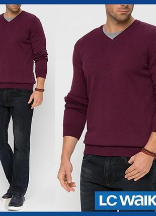 Бордовый мужской свитер lc waikiki / лс вайкики с v-образным в...